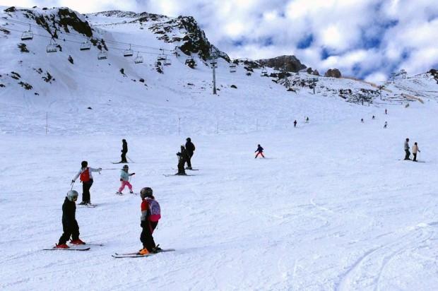 Rocky steeps, snowy flats.  La Parva, August 9th