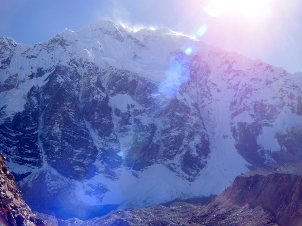 Looking up at the Salkantay Mountain in all of its might.