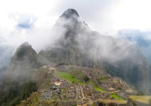 clouds rising above Machu Picchu