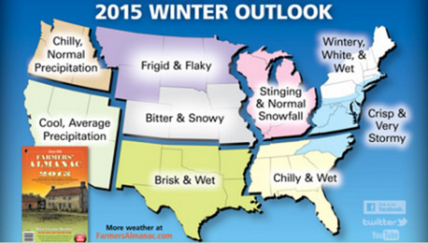 2015 Winter Weather Forecast by the Farmers' Almanac
