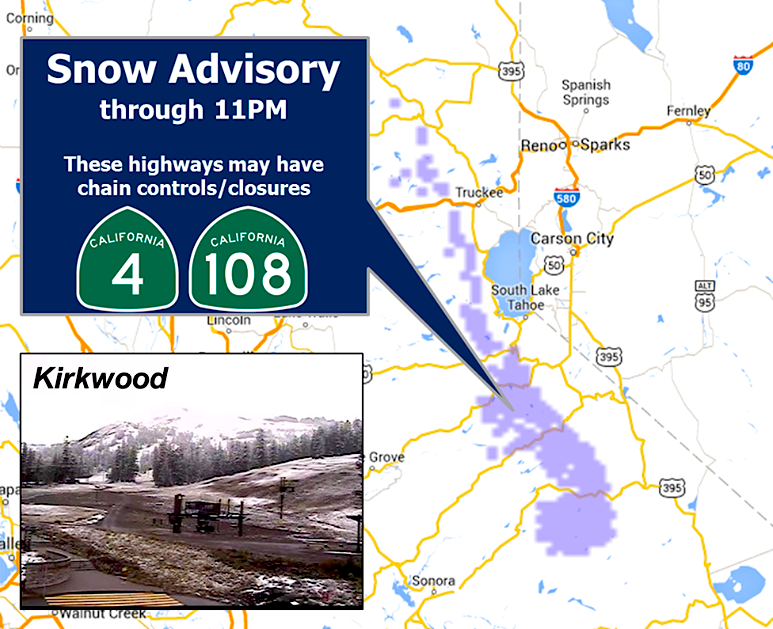 Noaa Winter Weather Advisory For Sierra Nevada Ca Today New Snow 5 Inches Snowbrains