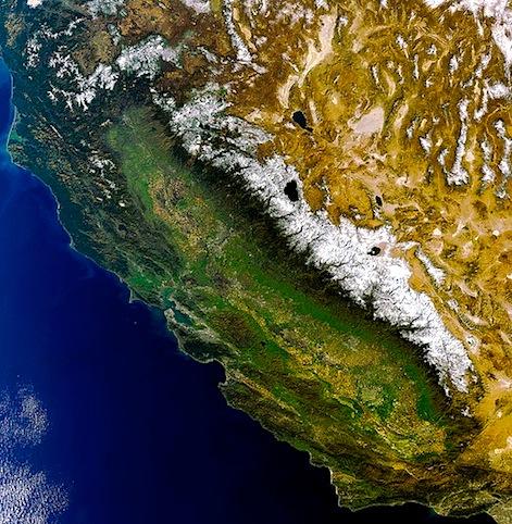 Sierra Nevada, CA from space in 2011.