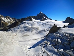 Dent du Geant glacier, Valle Blanche, Chamonix, France.  This is where the snowboarder disappeared.