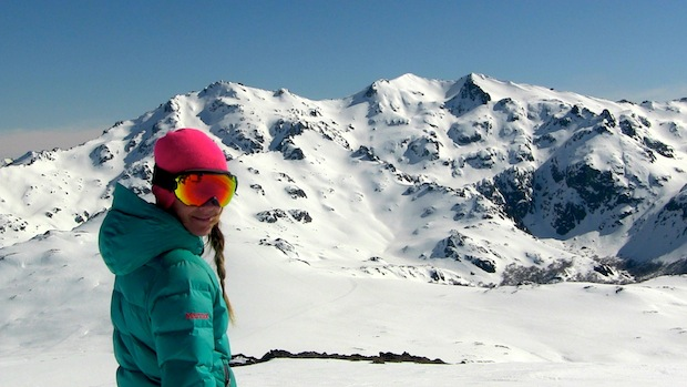 Mari and the big terrain of Baguales.  The zone in the middle was our first ski zone of the day.