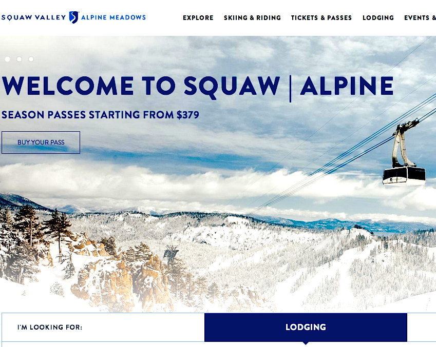 SquawAlpine.com's new website for Alpine Meadows and Squaw Valley.