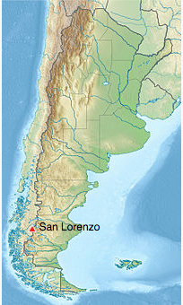 Map of Monte San Lorenzo, Chile.