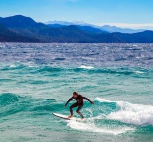 Surfing Lake Tahoe 2013.  photo:  Matt Bansak