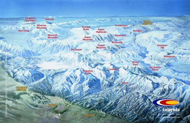 Colorado ski resort map.