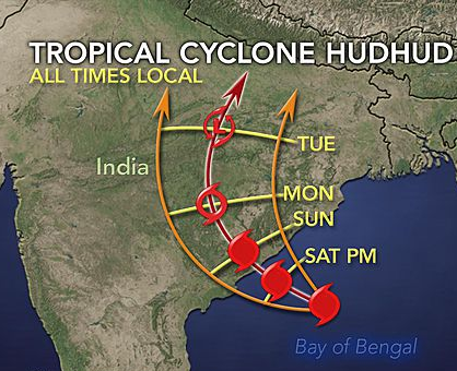 Category 4 Cyclone Hud Hud hit the hikers location on Tuesday and unleashed an unimaginable snowstorm.