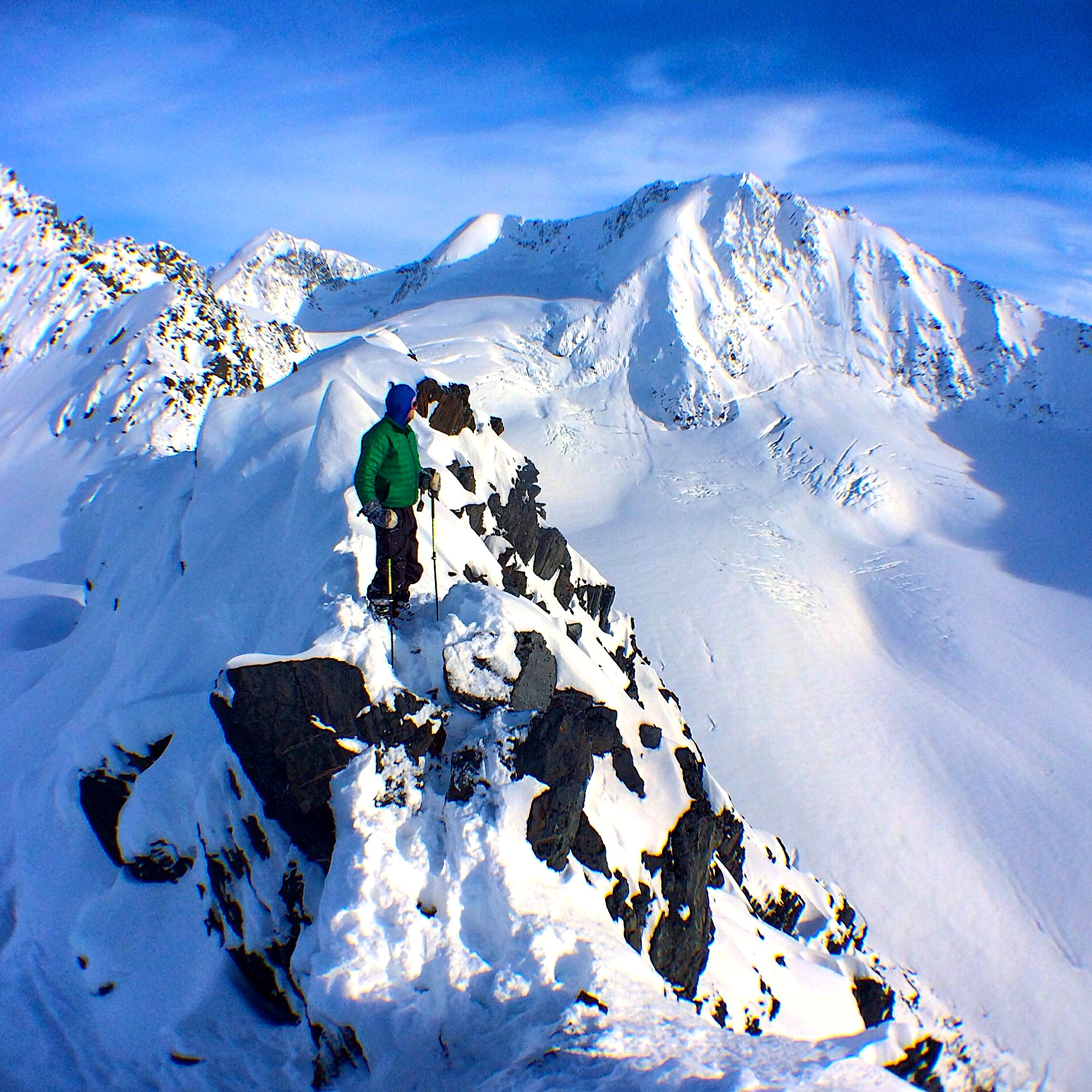 Standing at the top of Jewel Headwall. Milk Glacier in the background