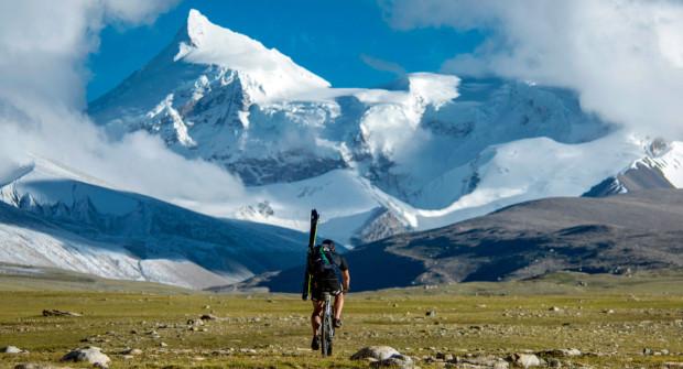 Haag training for his ride from Shishapangma to Cho on the Tibetan Plateau.   Photo: Elias Lefas/Dynafit