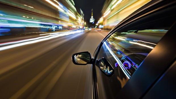 Speeding in a car as ski season approaches...