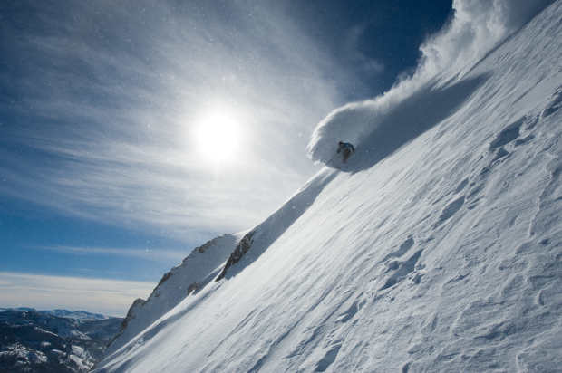 Jeff McKittrick ripping with speed at Squaw Valley, USA.  photo:  Hank deVre