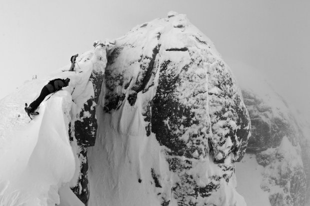 Jamie Pierre lining up a big huck in Jackson Hole, WY.  photo:  Oskar Enander