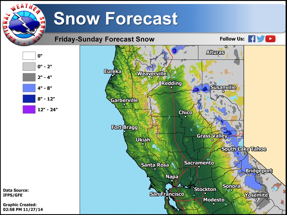 Noaa 12 Of Snow Forecast For Lake Tahoe This Weekend Snowbrains - Us-snow-forecast-map