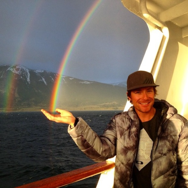 Seth Morrison holding a rainbow in the Beagle Channel on our first day of the cruise on November 6th, 2014.