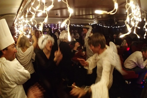 Dance Party at the Black and White Party onboard the Sea Adventurer.