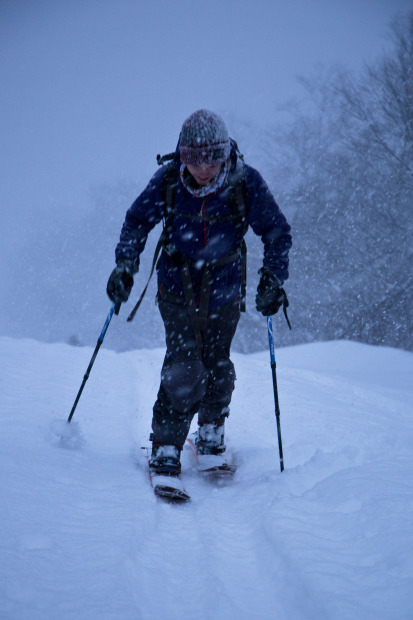 Mike earning his turns early in the morning