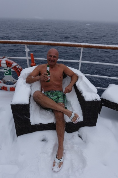 Mamood getting comfy on a snow day onboard the Sea Adventurer.