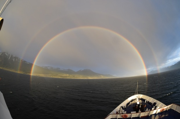 Stunning double rainbow in the Beagle Channel on our way to Antarctica.