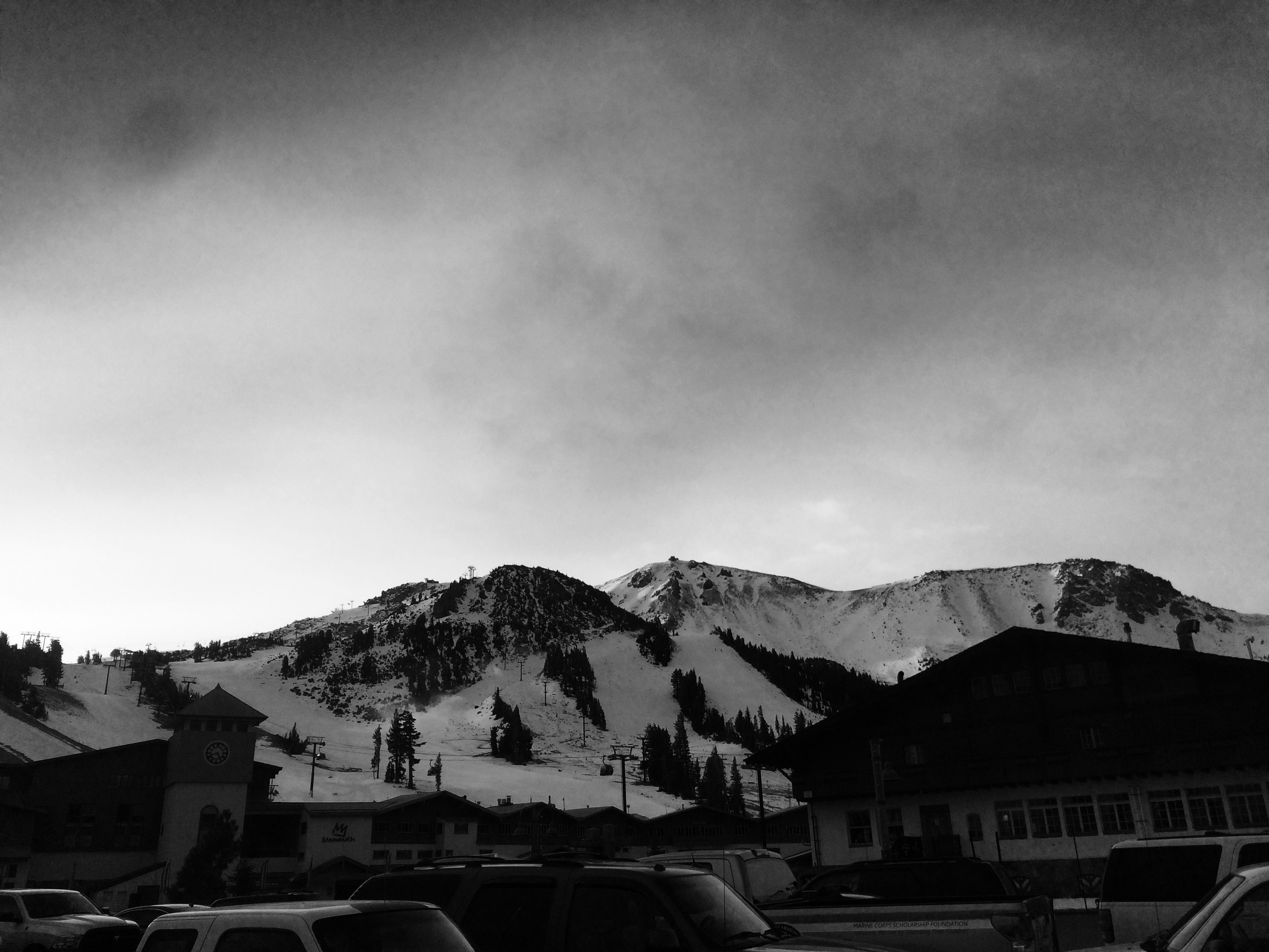 Mammoth looking good from the parking lot