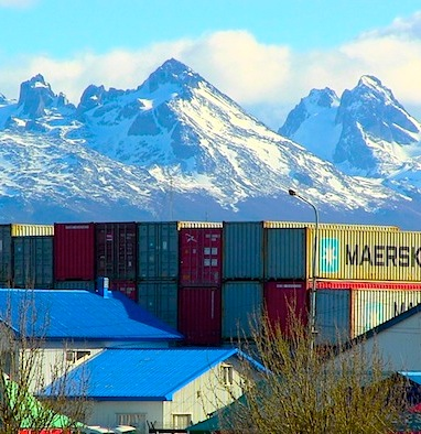 Chilean Peaks from Ushuaia, Argentina.