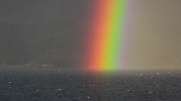 The most intense rainbow I've ever seen. Beagle Channel, Argentina/Chile. photo: snowbrains.com