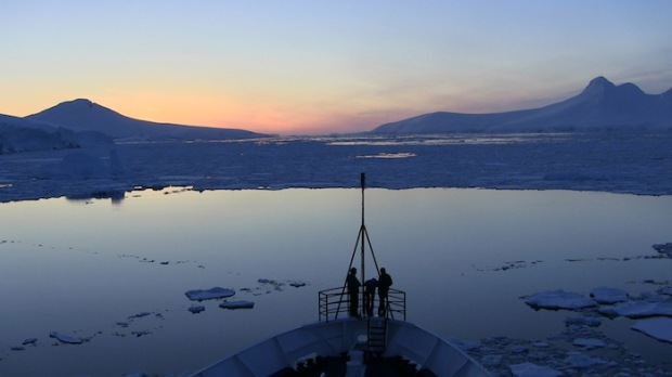 Ice Breaking in Sunset in Gerlache Straight, Antarctica in Fip-Flops. photo: snowbrains