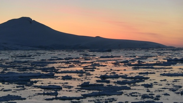 Sunset in Gerlache Straight, Antarctica.