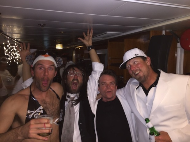Getting loose at the Black and White Party onboard the Sea Adventurer.