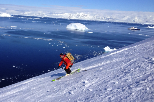 Charles tearing up the lower slopes of Mt. Victoria, Brabant Isle, Antarctica. photo: snowbrains.com