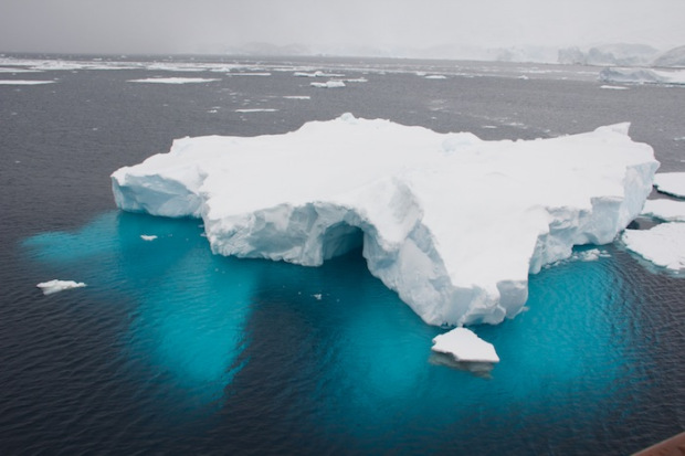 Iceberg revealing blue in Antarctica.