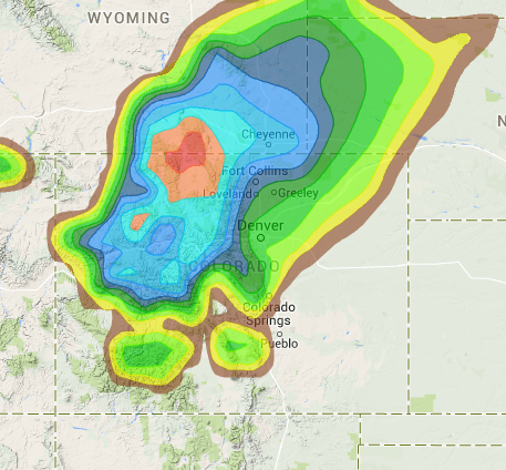 24 hour snowfall forecast for today showing CO getting it.