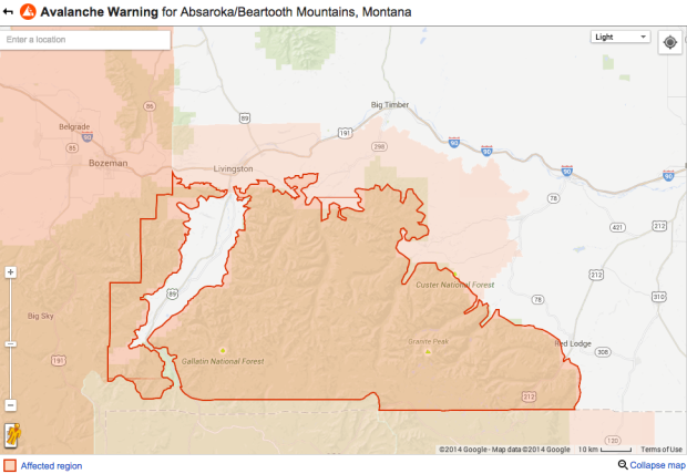 NOAA's Avalanche Warning covers these regions of Montana currently