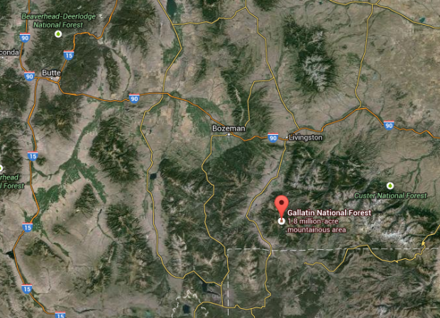 Map of where avalanche occurred yesterday on Henderson Peak, MT.