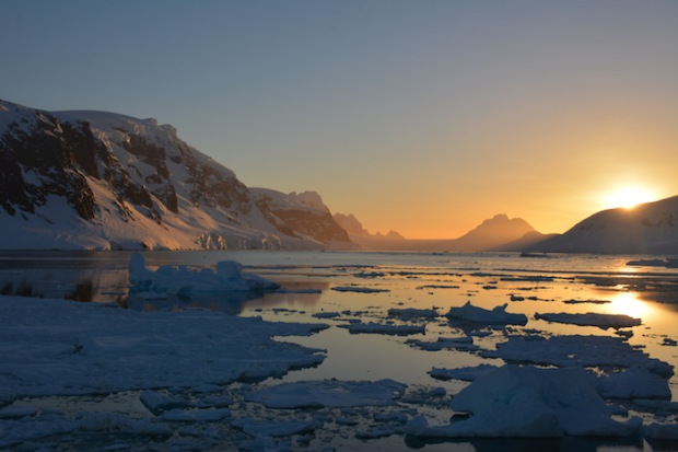 Gerlache Straight, Antarctica. Sunset.