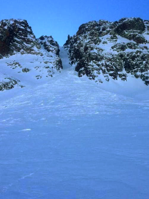 The run out path of the avalanche from earlier in the week in Colorado