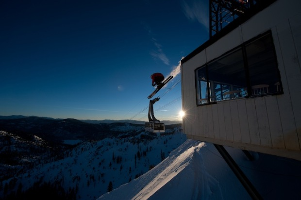 When hucking off the tram building at Squaw, you wanna make sure you're bindings don't eject on landing.  photo:  Hand de Vre