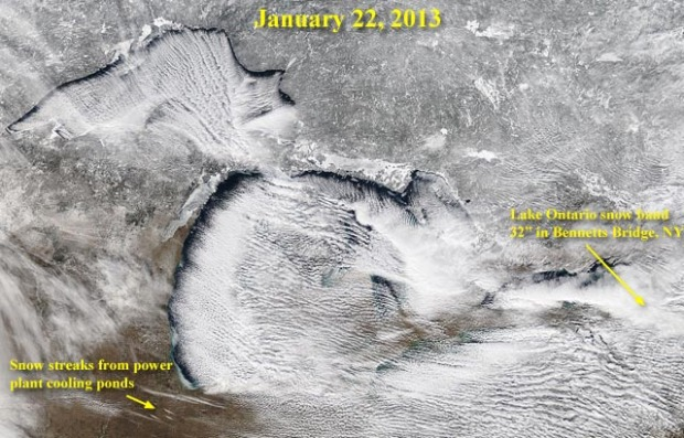 Great satellite image showing a solid example of lake effect snow off the Great Lakes, USA.