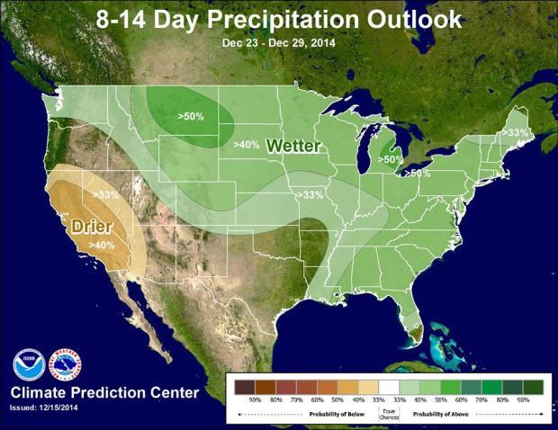 Christmas precipitation forecast