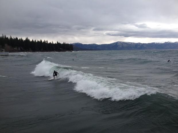 Surfing Lake Tahoe today.  photo:  Tahoe Quarterly/Carolyn Stark