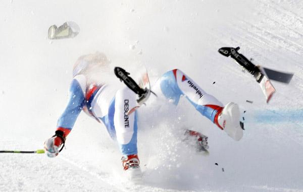downhill skiing, skiing crash, ski fall
