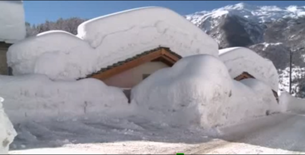Deep snow in Campodolcino, Italy in 2014.Deep snow in Campodolcino, Italy in 2014.