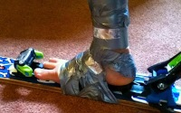 Duct tape ski boots!