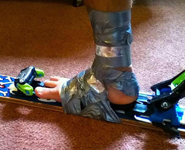 Duct tape ski boots!