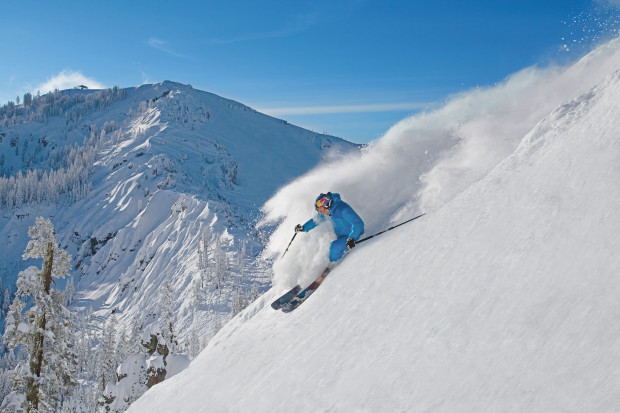 Olympic skier Daron Rahlves ripping with the Palisades in the background at Sugar Bowl in 2013. photo: sugar bowl