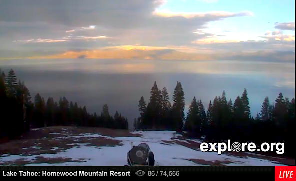 Homewood ski resort with no snow.  Today at 5pm.