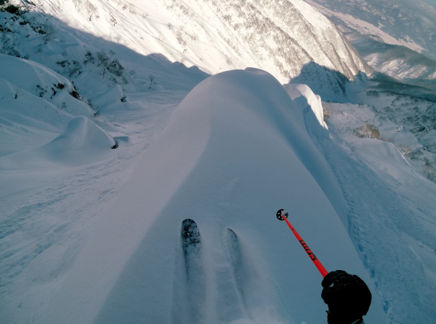 Scary spine skiing in Japan this January.  photo:  snowbrains