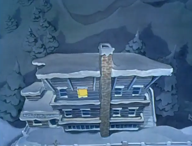 """This screen shot if from Goofy's """"The Art of Skiing"""". Can you read """"Sugar Bowl Lodge"""" on the lower left?"""