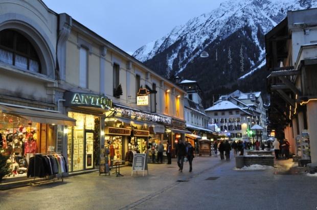 Night strolling in Chamonix, France.